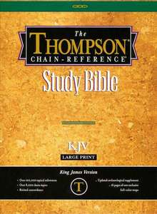 THOMPSON CHAIN REFERENCE BIBLE GENUINE LEATHER KJV BLK Large Prt Genuine Indx